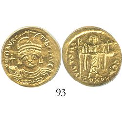 Byzantine Empire, AV solidus, Maurice Tiberius, 582-602 AD, Constantinople mint, encapsulated ICG MS
