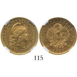 Argentina, 5 pesos / 1 argentino, 1883, encapsulated NGC AU 55.