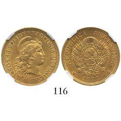 Argentina, 5 pesos / 1 argentino, 1888, encapsulated NGC AU 55.