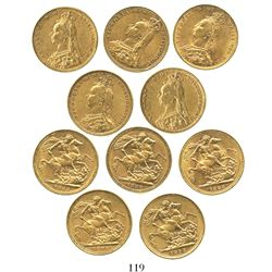 Lot of 5 Melbourne, Australia, sovereigns, Victoria (jubilee head), various dates: 1888 (2), 1889 an
