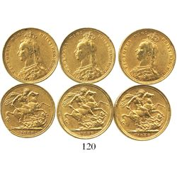 Lot of 3 Sydney, Australia, sovereigns, Victoria (jubilee head), various dates: 1888 and 1889 (2).