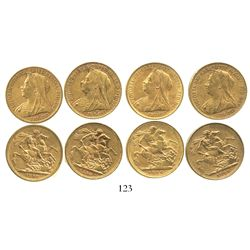 Lot of 4 Melbourne, Australia, sovereigns, Victoria (veiled head), various dates: 1898, 1899 and 190