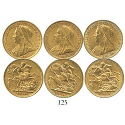 Lot of 3 Sydney, Australia, sovereigns, Victoria (veiled head), various dates: 1893, 1894 and 1900.