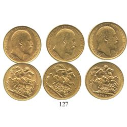 Lot of 3 Perth, Australia, sovereigns, Edward VII, various dates: 1902, 1906 and 1908.