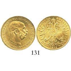 Austria, 20 coronas, Franz Joseph I, 1915 (restrike).