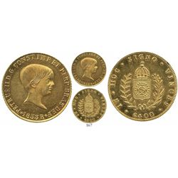 Brazil, (Rio mint), 6400 reis, Pedro II, 1833-R.