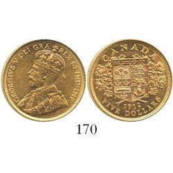 Canada, 5 dollars, George V, 1912.