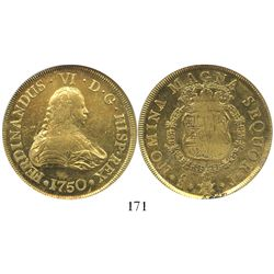 Santiago, Chile, bust 8 escudos, Ferdinand VI, 1750J, encapsulated NGC MS 62, from the Luz (1752), i