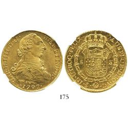 Santiago, Chile, bust 8 escudos, Charles IV (bust of Charles III), 1797DA, encapsulated NGC MS 62, f
