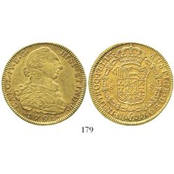 Bogota, Colombia, bust 8 escudos, Charles IV transitional (bust of Charles III, ordinal IV), 1791JJ.