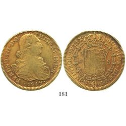 Bogota, Colombia, bust 8 escudos, Ferdinand VII (bust of Charles IV), 1819JF, no dot between IN and