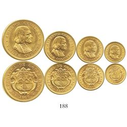 Lot of 4 Costa Rica gold coins of 1900 (denomination set): 20, 10, 5 and 2 colones.