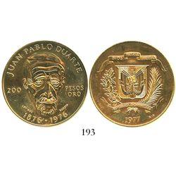 Dominican Republic, 200 pesos, 1977, Duarte.
