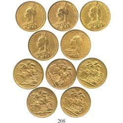 Lot of 5 Great Britain (London, England) sovereigns, Victoria (jubilee head), various dates: 1887, 1