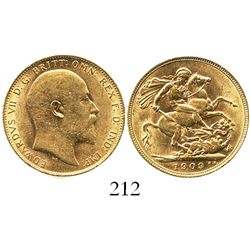 Great Britain (London, England), sovereign, Edward VII, 1909.