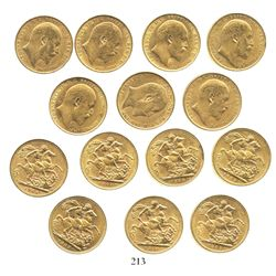 Lot of 7 Great Britain (London, England) sovereigns, Edward VII, various dates: 1903, 1906, 1907, 19