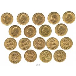 Lot of 9 Great Britain (London, England) sovereigns, George V, various dates: 1911 (4), 1912 (2), 19
