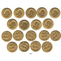 Lot of 9 Great Britain (London, England) sovereigns, George V, various dates: 1911 (3), 1912 (3), 19