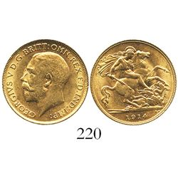 Great Britain (London, England), George V, 1/2 sovereign, 1914.