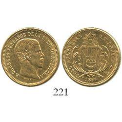 Guatemala, 5 pesos, 1869R, Carrera.