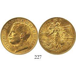 Italy (Kingdom), 50 lire, Vittorio Emanuele III, 1911.