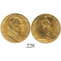 Vatican City (Italy), 100 lire, Pius XII, 1941.