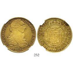 Mexico City, Mexico, bust 8 escudos, Charles III, 1783FF, encapsulated NGC XF 45, ex-Eliasberg.