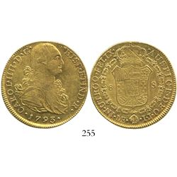 Lima, Peru, bust 8 escudos, Charles IV, 1793IJ.