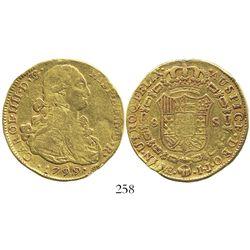 Lima, Peru, bust 8 escudos, Charles IV, 1799IJ.