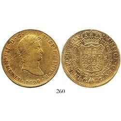 Cuzco, Peru, bust 8 escudos, Ferdinand VII, 1824G, rare one-year issue.