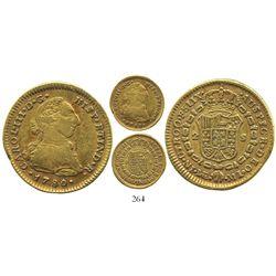 Lima, Peru, bust 2 escudos, Charles III, 1780MI, rare.