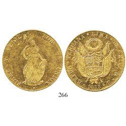 Lima, Peru, 8 escudos, 1855MB, REPUB type.