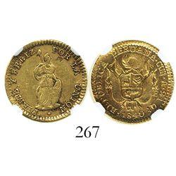 Cuzco, Peru, 1 escudo, 1840A, encapsulated NGC AU 53.
