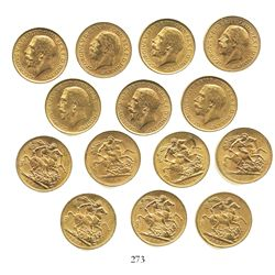 Lot of 7 South Africa sovereigns, George V, various dates: 1925 (2), 1927, 1928 (2), 1929 and 1931.