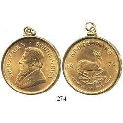 South Africa, krugerrand, 1976, in 18K(?) gold pendant-bezel.