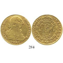 Seville, Spain, bust 4 escudos, Charles III, 1777CF.