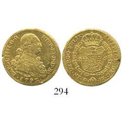 Madrid, Spain, bust 2 escudos, Charles IV, 1793MF.
