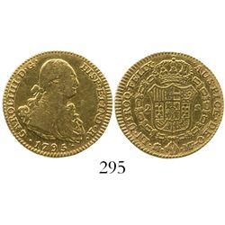 Madrid, Spain, bust 2 escudos, Charles IV, 1795MF.