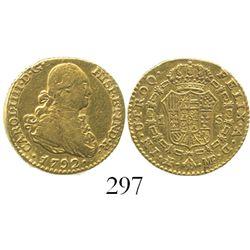 Madrid, Spain, bust 1 escudo, Charles IV, 1792MF.