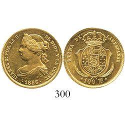 Madrid, Spain, 100 reales, Isabel II, 1856.