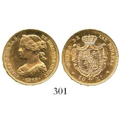Madrid, Spain, 10 escudos, Isabel II, 1868, with 18-68 inside stars.