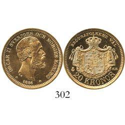 Sweden, 20 kronor, Oscar II, 1886EB.