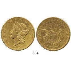 USA (New Orleans mint), $20 (double eagle) coronet Liberty, 1850-O.