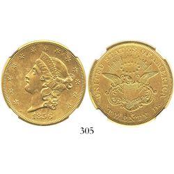 USA (San Francisco mint), $20 (double eagle) coronet Liberty, 1856-S, encapsulated NGC UNC details /