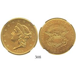 USA (San Francisco mint), $20 (double eagle) coronet Liberty, 1856-S, encapsulated NGC UNC details /