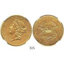 USA (San Francisco mint), $20 (double eagle) coronet Liberty, 1856-S, encapsulated NGC AU details /