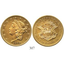 USA (Philadelphia mint), $20 (double eagle) coronet Liberty, 1862.