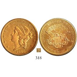 USA (San Francisco mint), $20 (double eagle) coronet Liberty, 1866-S, no motto, very rare.