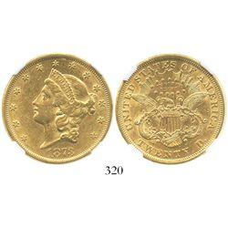 USA (Philadelphia mint), $20 (double eagle) coronet Liberty, 1873, open 3, encapsulated NGC AU 55.