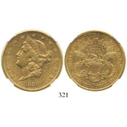 USA (San Francisco mint), $20 (double eagle) coronet Liberty, 1880-S, encapsulated NGC AU 53.